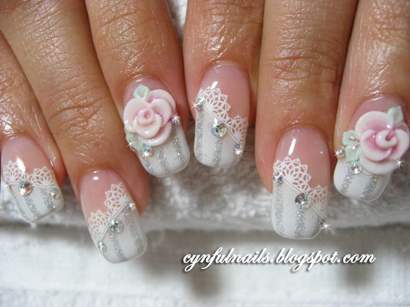 White Lace Design And Rose Flower Nail Art