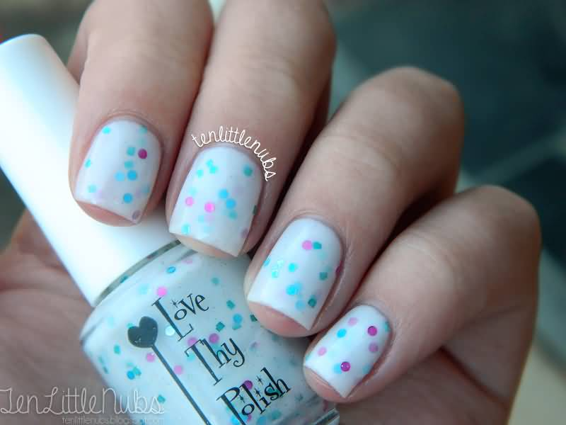 52 most stylish blue nail art ideas white nails with blue and pink dots design idea prinsesfo Images