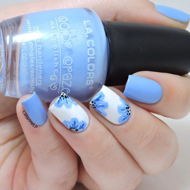 50 best blue nail art design ideas white nails with blue flowers design nail art prinsesfo Gallery