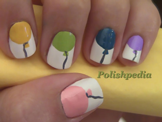 White Nails With Colorful Balloons Birthday Nail Art - 50 Best Birthday Nail Art Designs