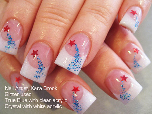 60 most beautiful glitter nail art ideas white tip nails with blue glitter and red star design nail art by kara brook prinsesfo Images