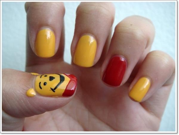 Winnie Pooh Cartoon Nail Art