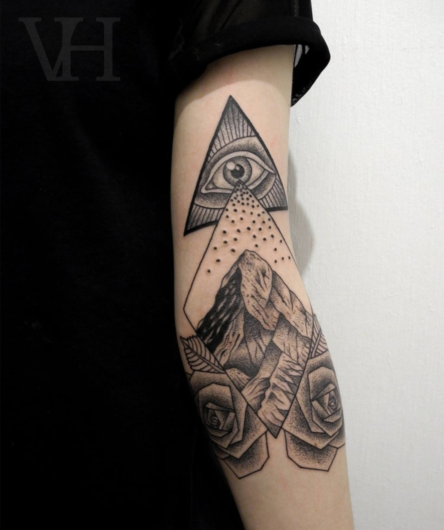 00a8488ea Wonderful Triangle Eye With Mountains And Roses Tattoo On Tricep By  Valentin Hirsh