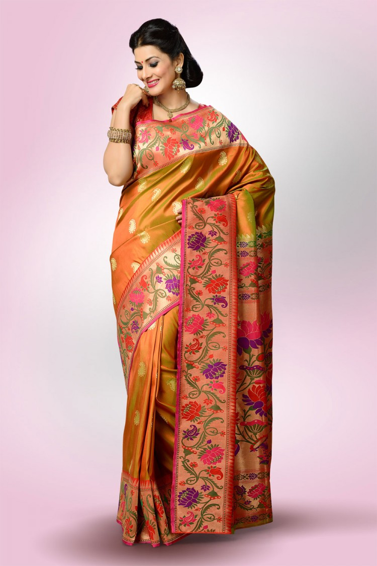 Paithani Saree Anjeri Mehendi Colour