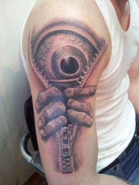 8d204c635ad39 3D Big Scary Eye Zipper Tattoo On Right Half Sleeve