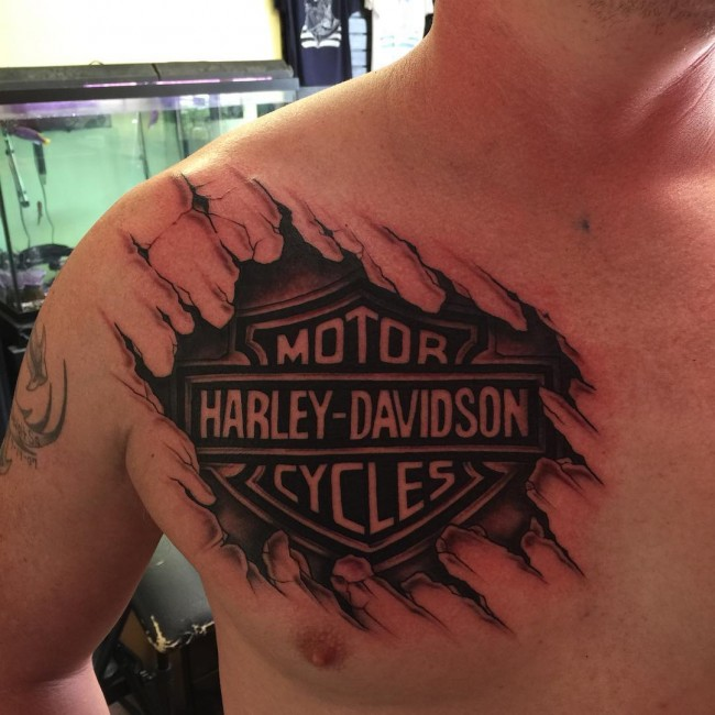 Harley davidson and dicer tattoo on arm for Free harley davidson tattoo designs