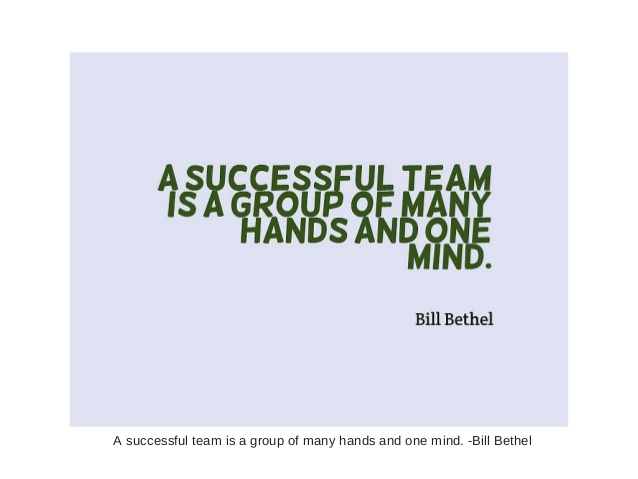 A Successful Team Is Group Of Many Hands And One Mind