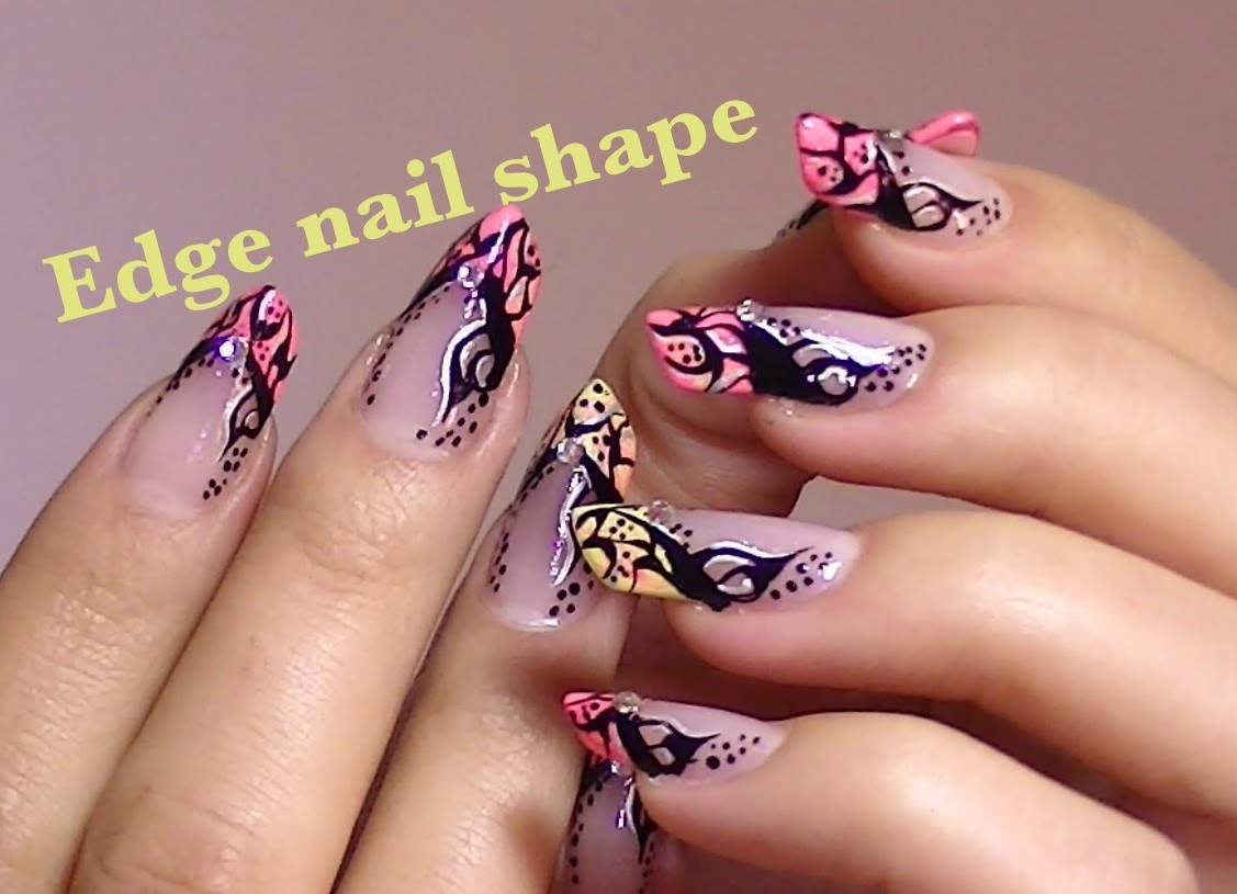 Black And Wife Zebra Print Edge Nail Art