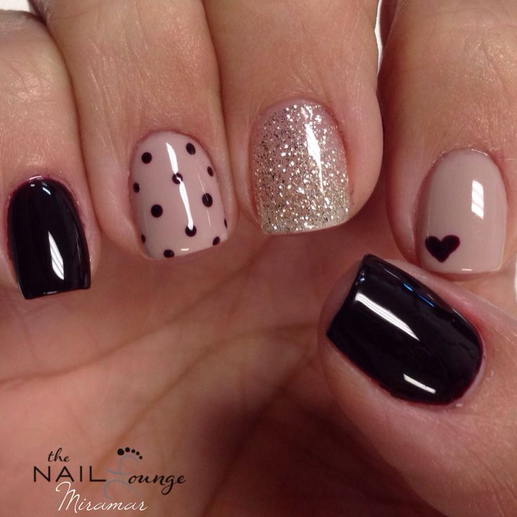 45 latest heart nail art designs for trendy girls accent black small heart nail art prinsesfo Images