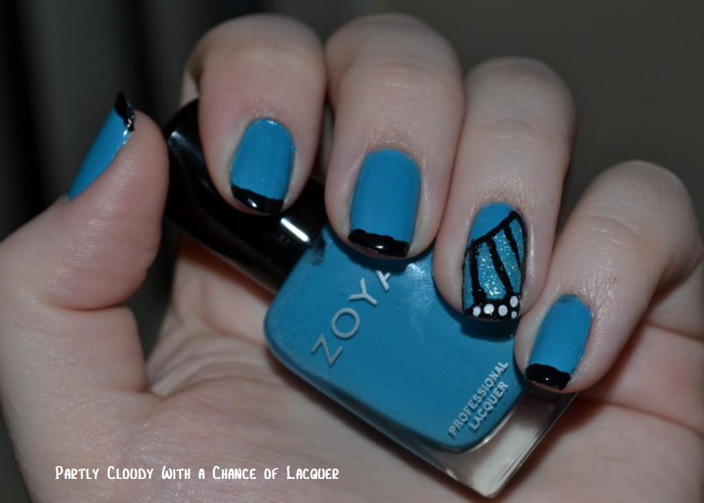 Accent Blue Erfly Wings Nail Art Design Idea