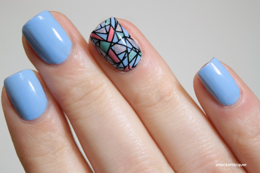 Accent Mosaic Nail Art Design For Teen Girls - 50 Latest Mosaic Design Nail Art Ideas For Trendy Girls
