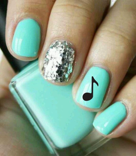 Accent Music Note Nail Art Design Idea - 50+ Best Music Nail Art Design Ideas