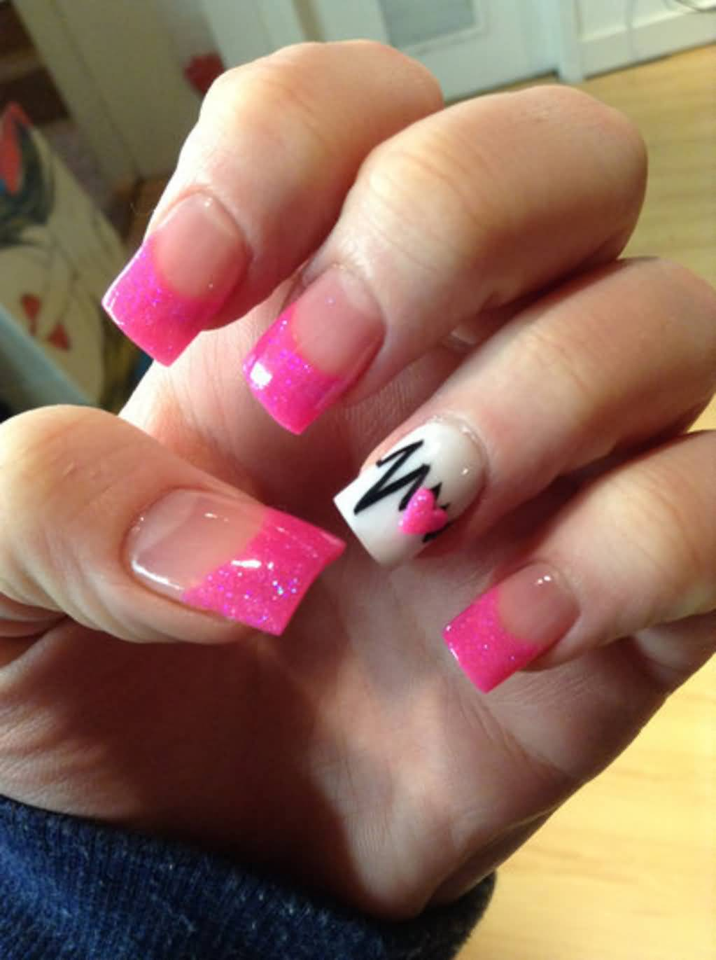 accent pink 3d heart and black heartbeat nail design idea - Nail Design Ideas