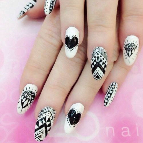 Acrylic Black And White Nail Art Designs Idea - 65+ Best Black And White Nail Art Design Ideas For Trendy Girls