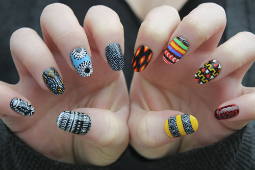 African Tribal Pattern Nail Art