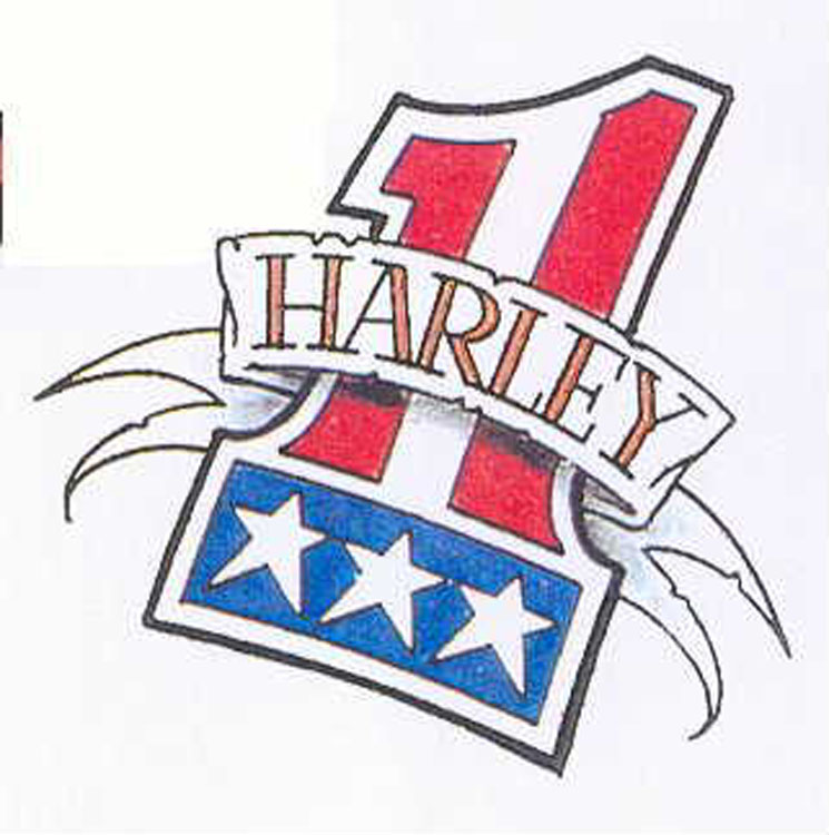 d98435388 American Flag One Harley Davidson Banner Tattoo Design
