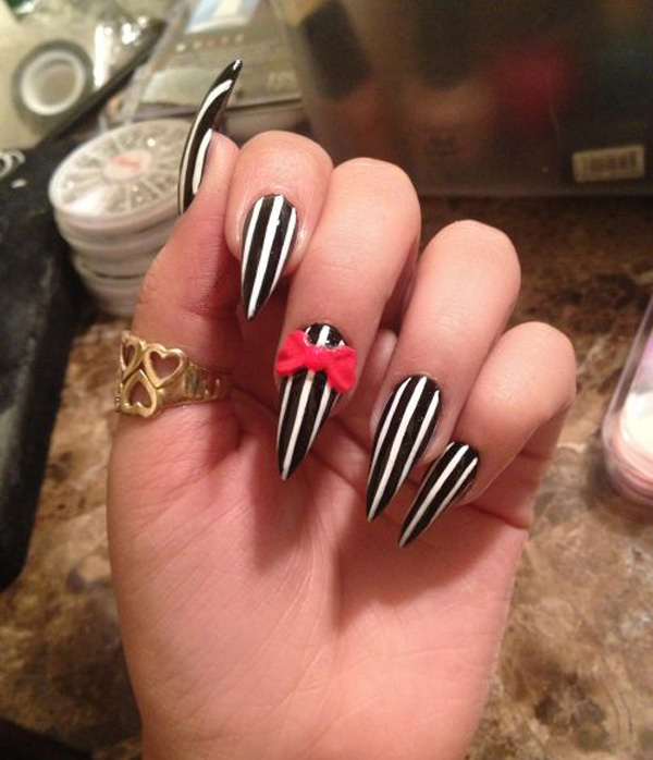 Attractive Sharp Edge Black And White With Pink 3D Bow Design Idea - 62+ Most Stylish Edge Nail Art Designs