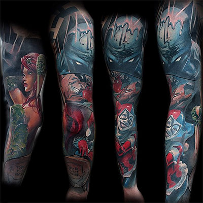 Awesome Colorful Harley Quinn And Batman Tattoo On Full Sleeve Panther Logo Designs