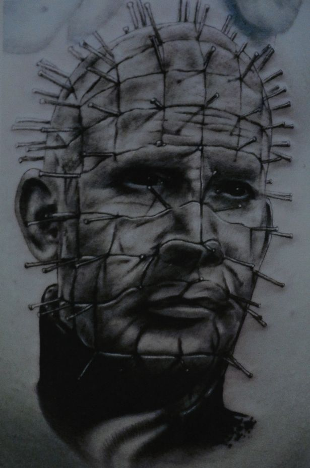d3ede1344 Awesome Portrait Of Pinhead Tattoo