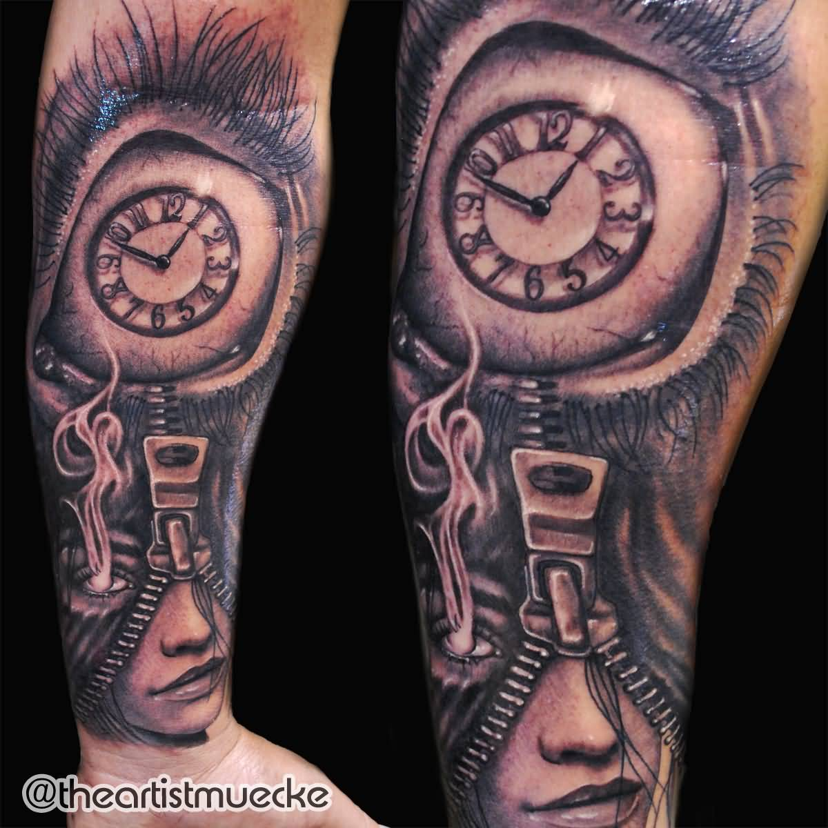 Awesome zipper girl eyeball clock tattoo on forearm by for Eye with clock tattoo