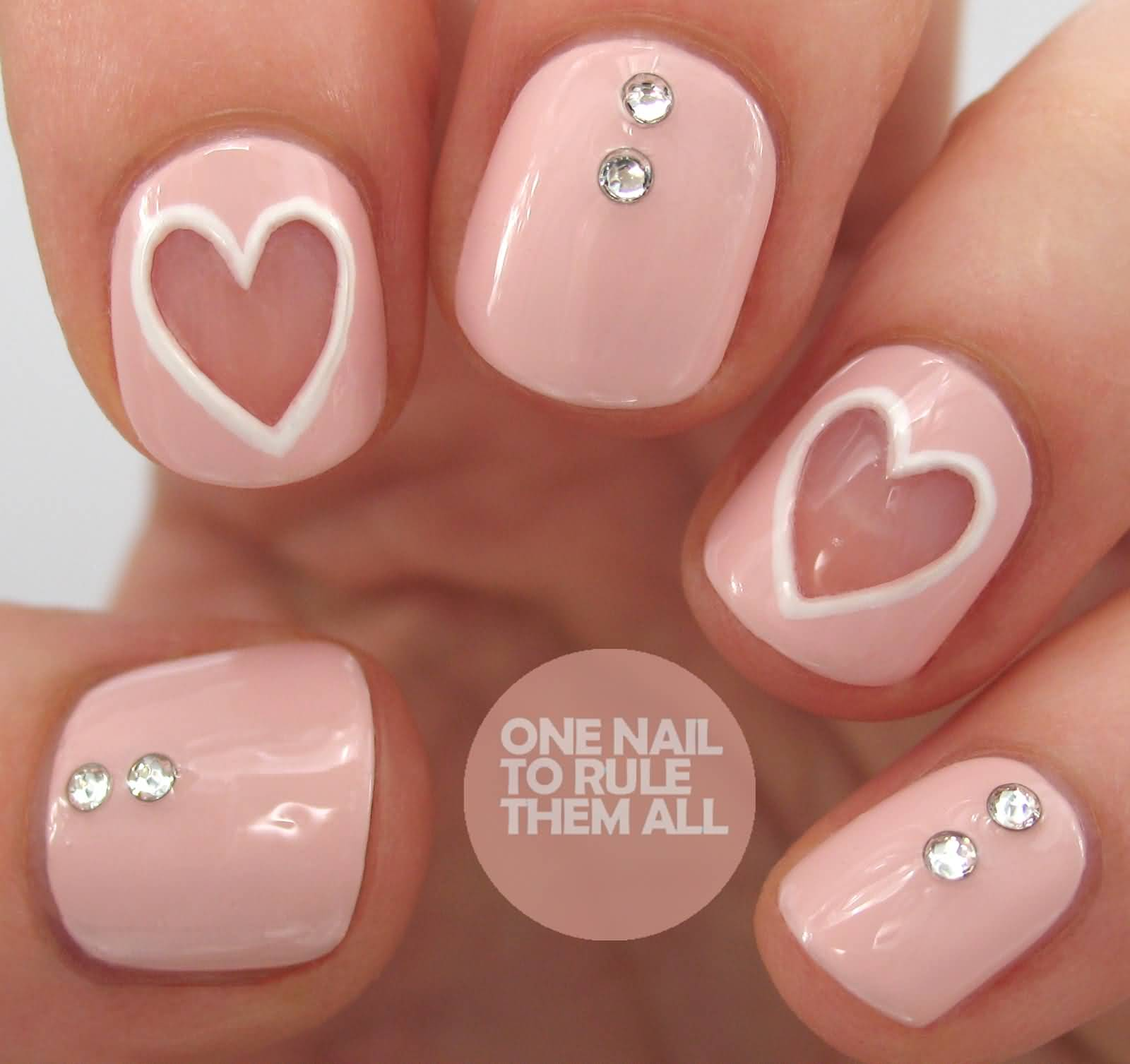 65 most beautiful heart nail art design ideas for trendy girls baby pink hearts nail art with rhinestones design idea prinsesfo Images