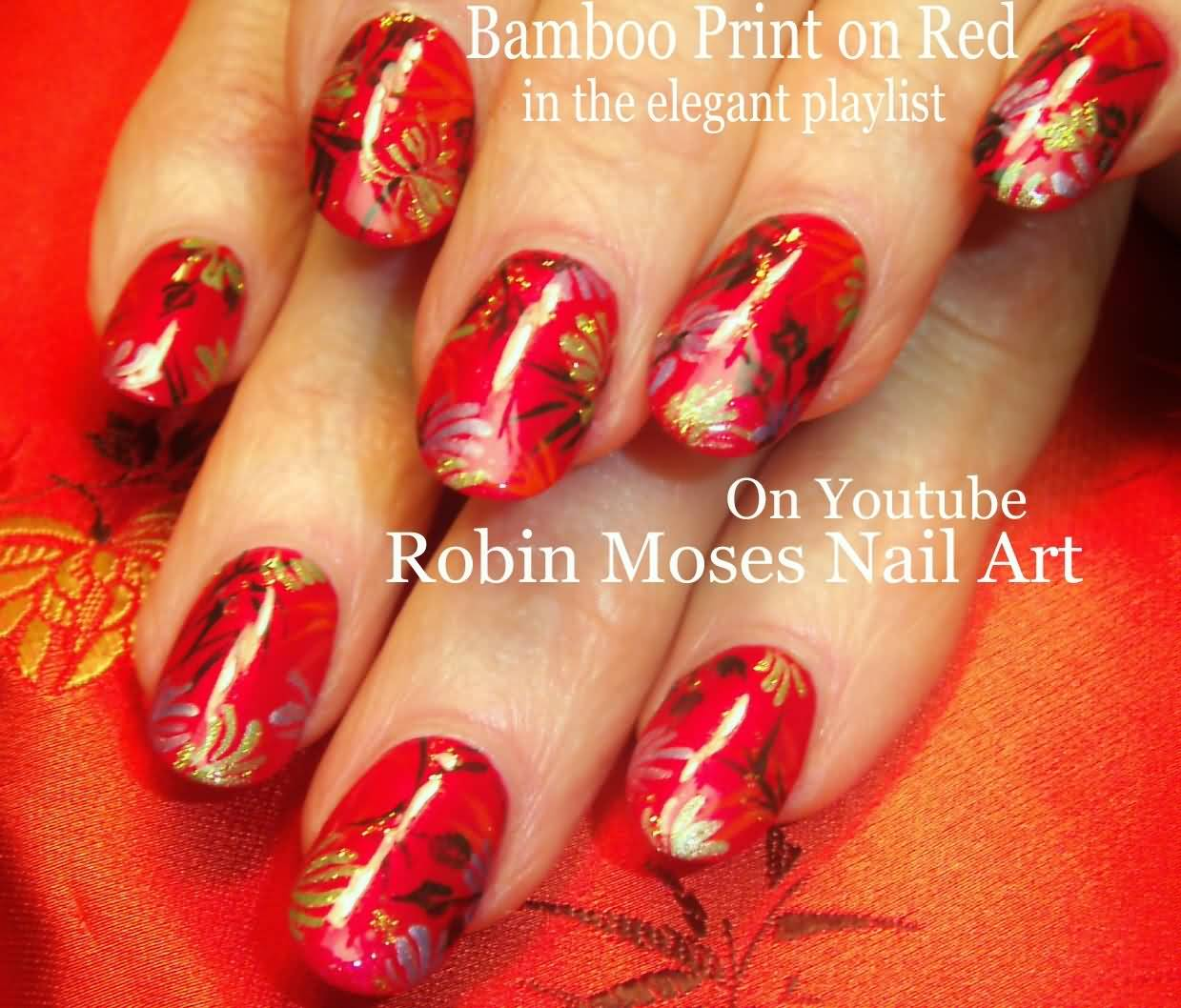 Bamboo print on red nails chinese nail art prinsesfo Gallery
