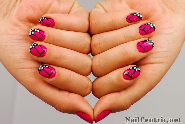 Beautiful Pink Erfly Wings Nail Art