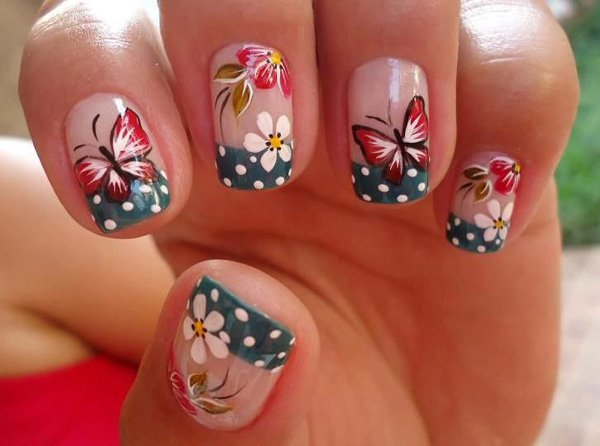 Beautiful Red And White Butterflies Nail Art With Flowers Design Idea