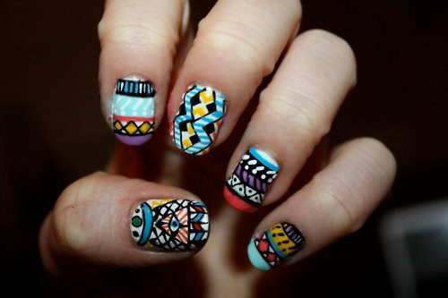 Beautiful Tribal Pattern Nail Art