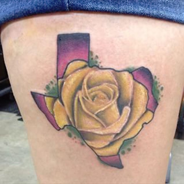 Beautiful yellow rose in texas map tattoo on thigh mightylinksfo