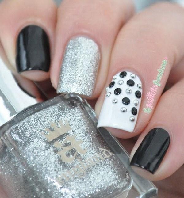 Black And White Caviar Beads Nail Art Design