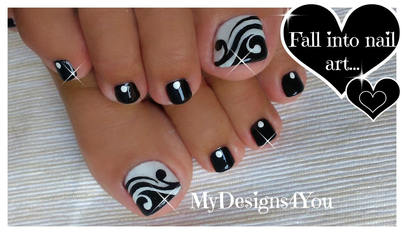 60 Stylish Black And White Nail Art Designs For Toe Nails