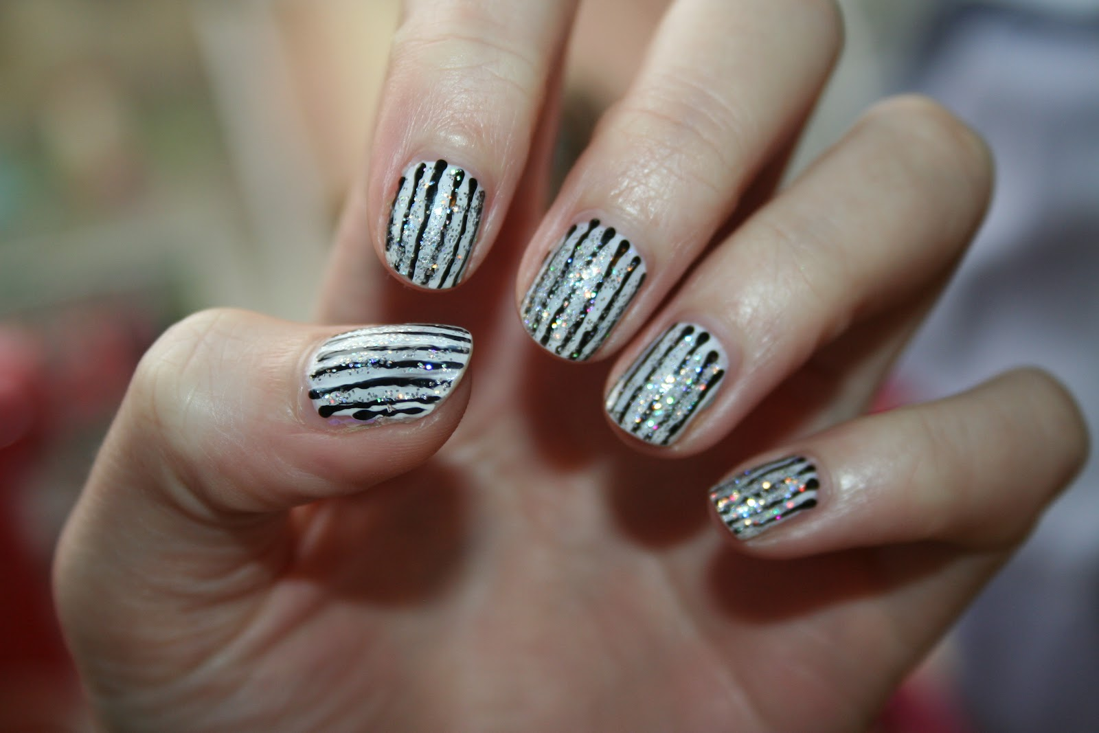 75 most stylish nail art pattern design ideas black and white glitter stripes pattern nail art prinsesfo Choice Image