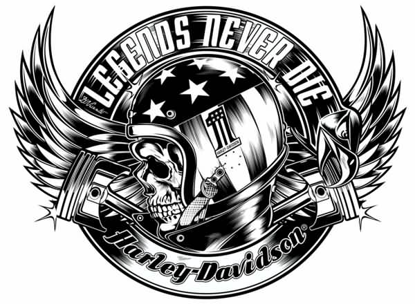 Black And White Harley Davidson Helmet Skull Tattoo Design