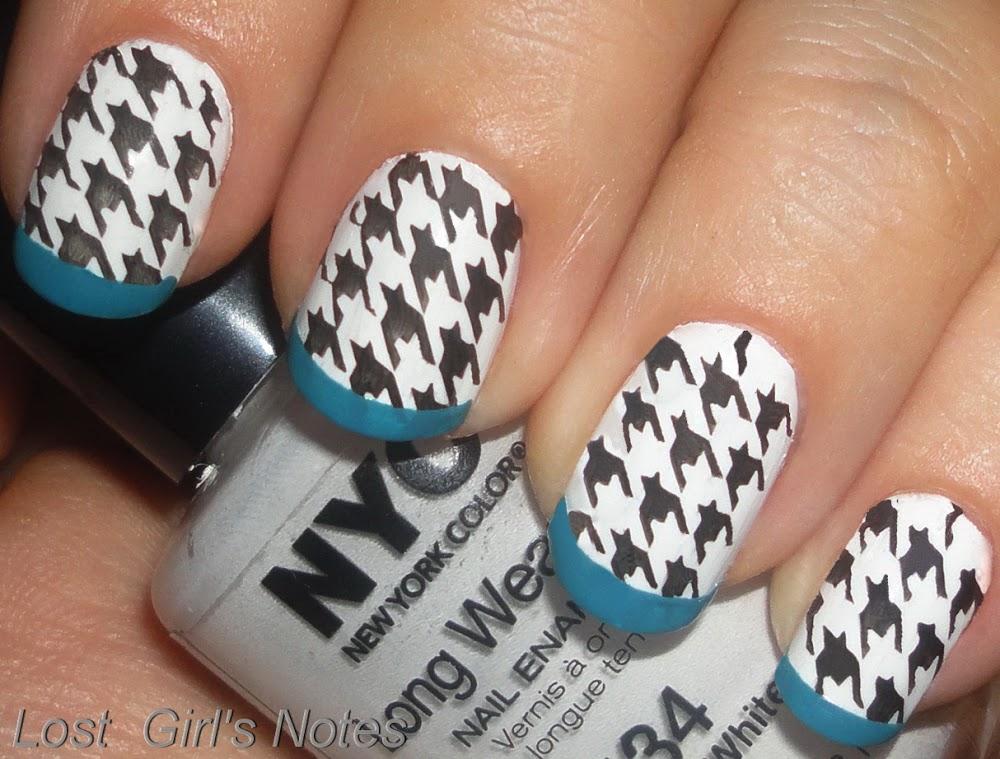 60 latest black and white nail art design ideas black and white houndstooth nail art with blue tip design idea prinsesfo Choice Image