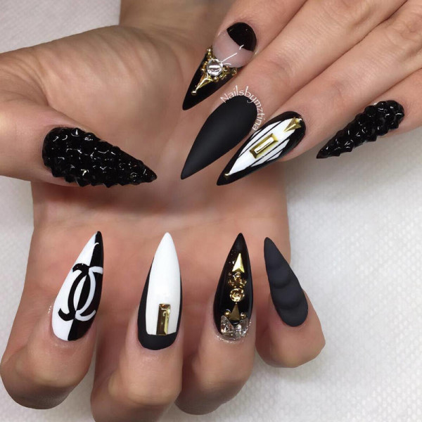 Black and white matte 3d nail art design
