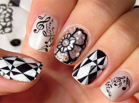 - Black And White Music Nail Art Design Idea