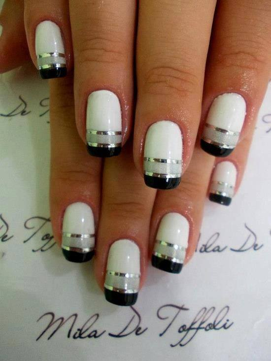 65 best black and white nail art design ideas for trendy girls black and white nails with silver metallic stripes design nail art idea prinsesfo Images