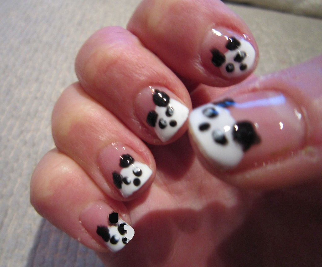 55 most amazing black and white nail art design ideas black and white panda face nail art design idea prinsesfo Image collections