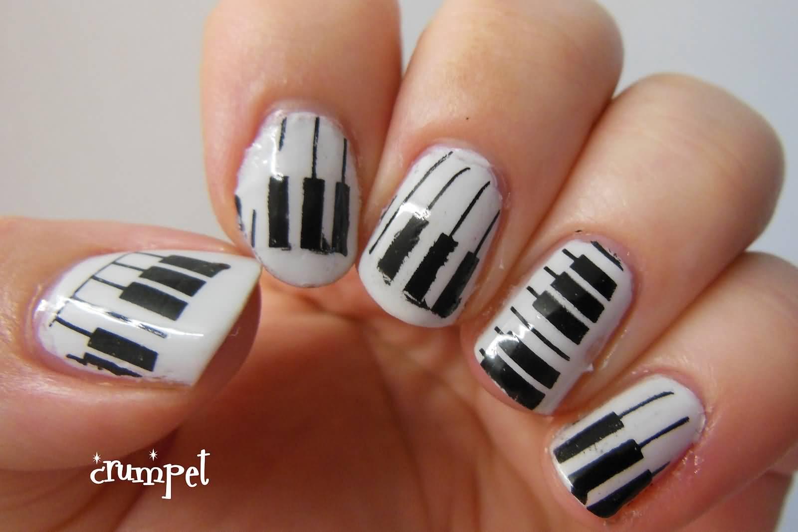 75 most stylish nail art pattern design ideas black and white piano pattern nail art design idea prinsesfo Images