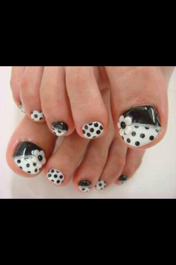 60 stylish black and white nail art designs for toe nails black and white polka dots and 3d flower toe nail art prinsesfo Image collections