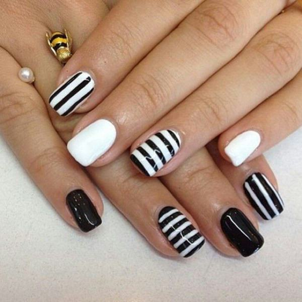 Black And White Stripes Nail Art Design Idea