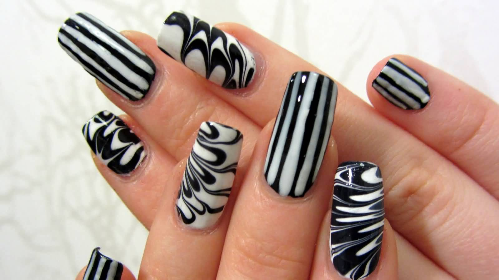 50+ Most Beautiful Black And White Nail Art Designs