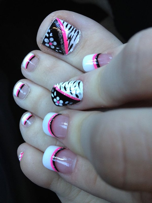 60 stylish black and white nail art designs for toe nails black and white zebra print with pink stripes design toe nail art prinsesfo Gallery