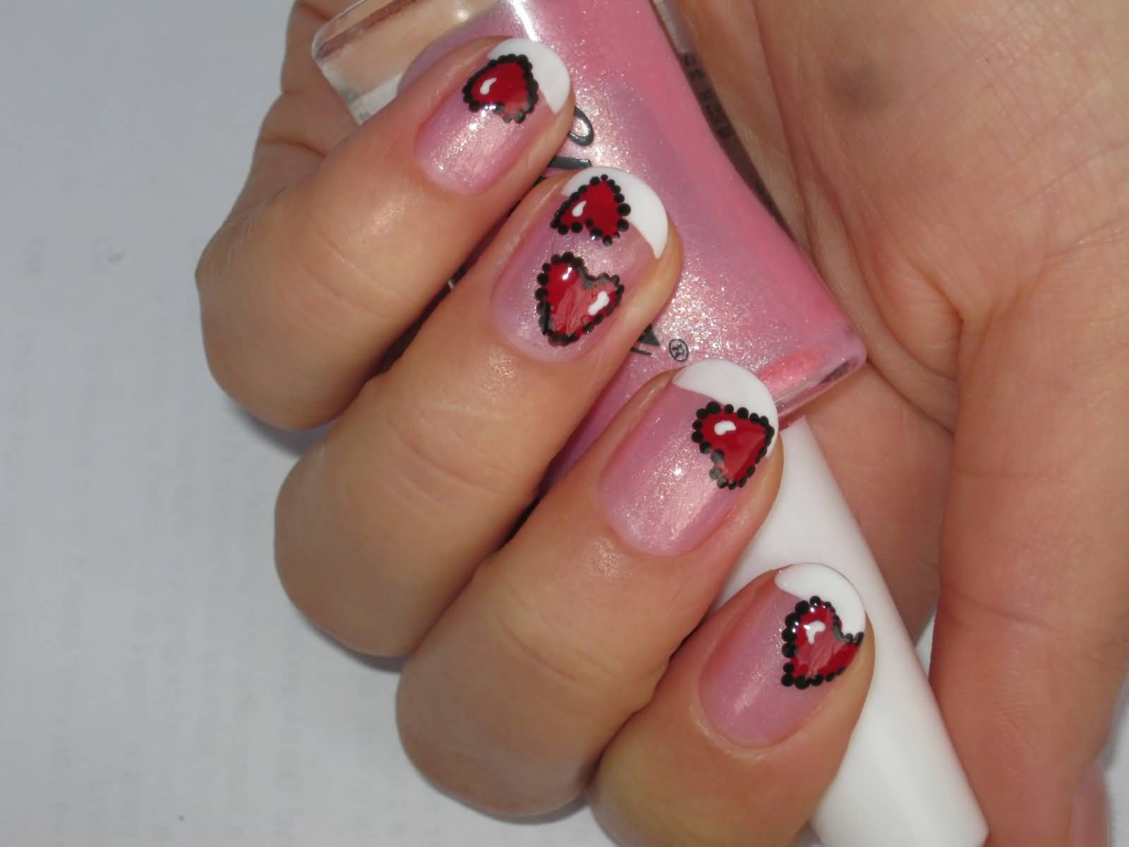60 latest red heart nail art design ideas black dotted red hearts nail art prinsesfo Choice Image