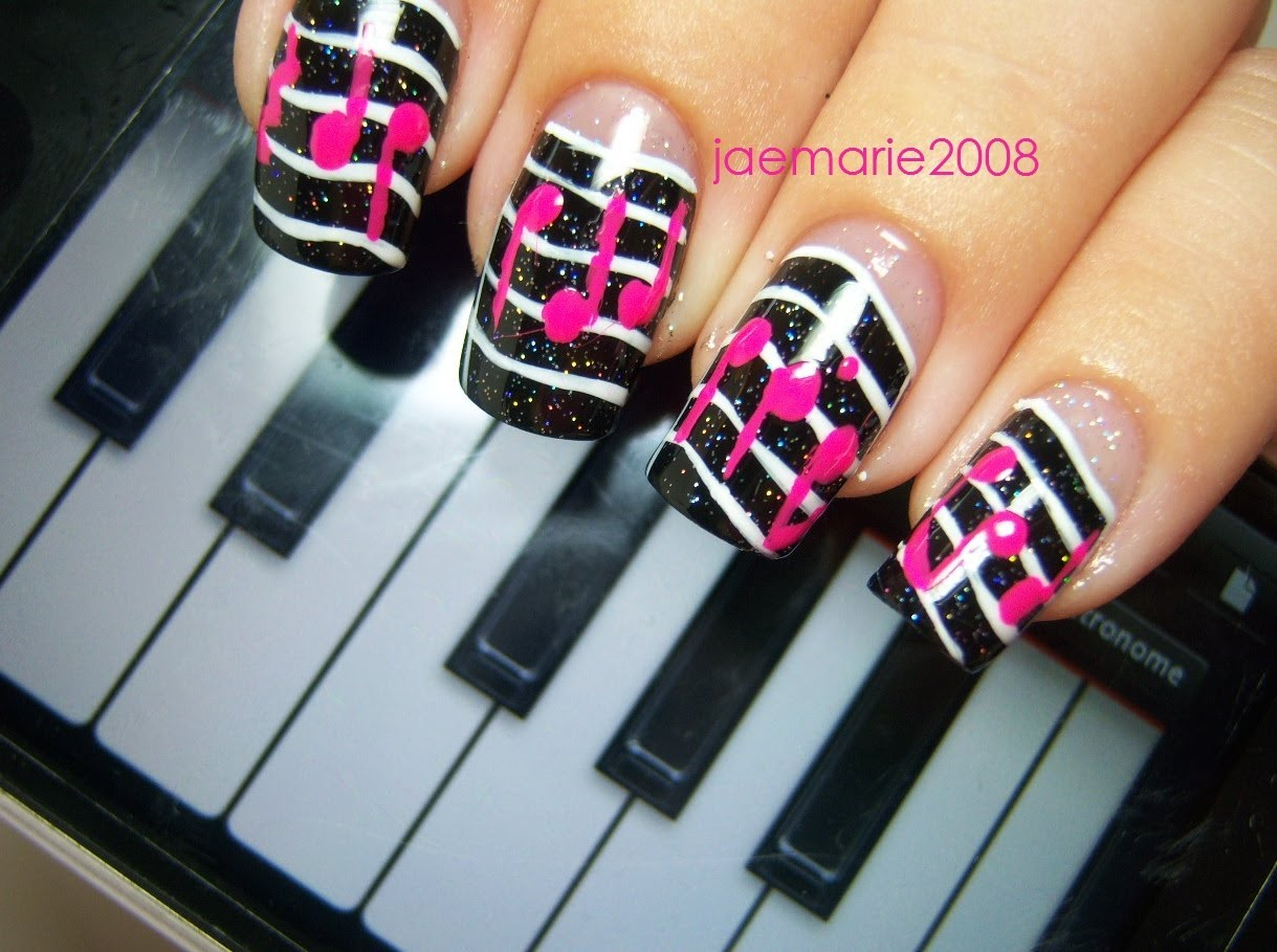 Black Gel Nails With Pink Music Notes Nail Art