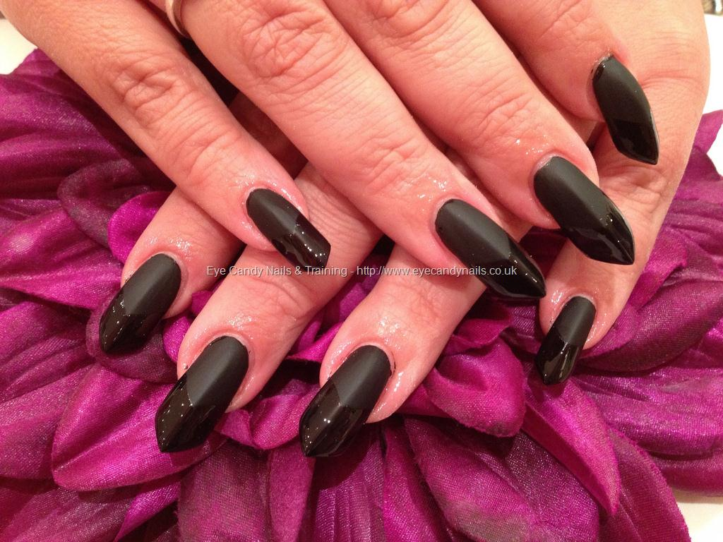 Black Matte And Glossy Tip Edge Nail Art