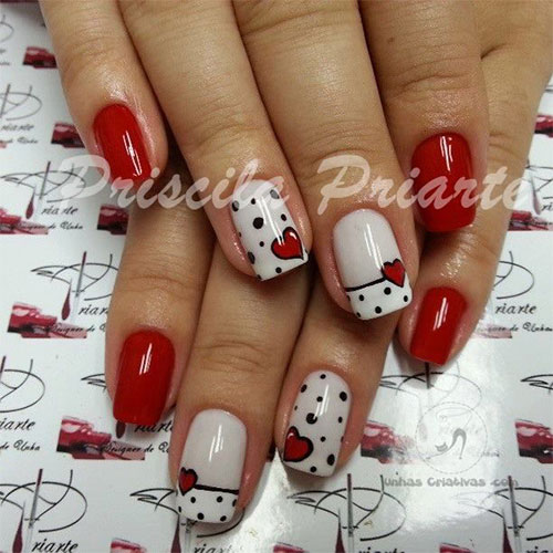Black Polka Dots And Red Heart Nail Art Idea