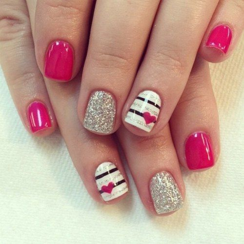 Striped Pink Heart Nail Art My Own Email