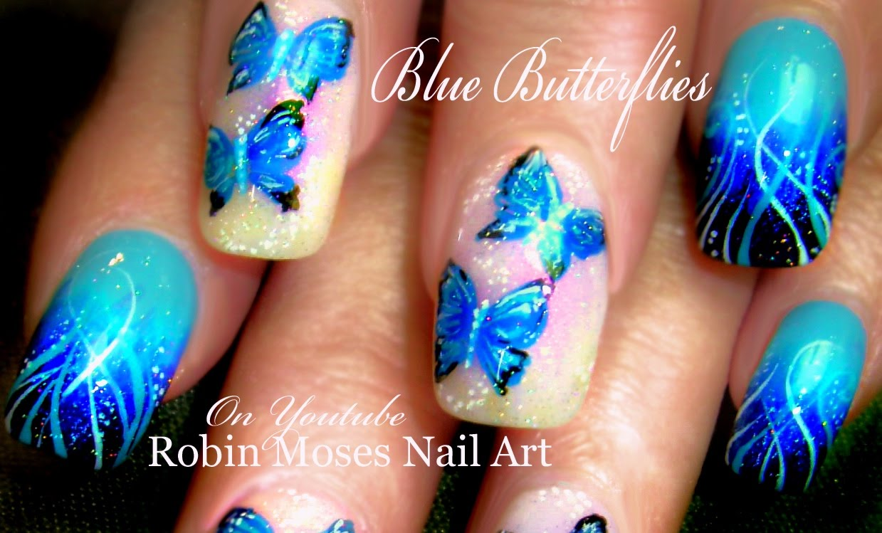 55 blue butterfly nail art design idea blue butterflies nail art idea prinsesfo Image collections